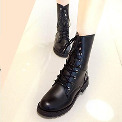 Ba Lace Cover Shoes Size Outdoor Army with up Black Tied Military Mid Combat Women Biker Shoes Boots Leisure Heel Men Flat Flat Boots Toe Cross Calf 3 Shoes 6 Black 5 Round Shoes Zha dBwqIda