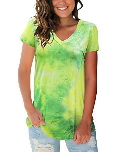 liher Womens Short Sleeve Tops V Neck Tie Dye Shirts