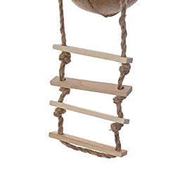 Naturals Coco Hideaway with Ladder Bird Toy 12 x 4.5 x 4.5 inches Decorative Bird Cages with Ladder