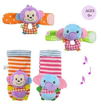 Infant Baby Soft Plush 4 Animal Wrists Rattle and Foot Finder Socks Set Best Gift Early Educational Development Toy for Boys and Girls - Elephant and (Dr Seuss Leggings)