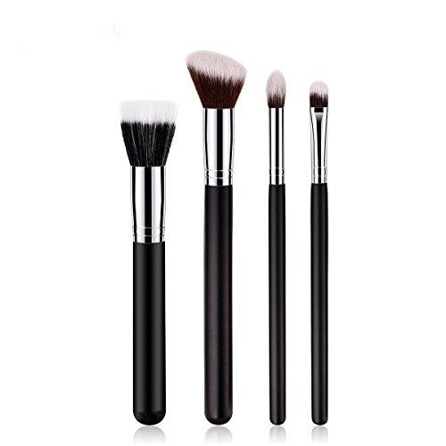 Makeup Brushes Set 4 Pieces Face Eye Powder Eyeshadow Blush Liquid Blending Cosmetic Brushes Tools for Women (Silver)
