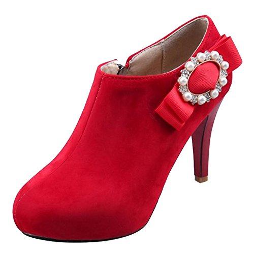 COOLCEPT Red Zipper 1 Boots Women a71qaZ