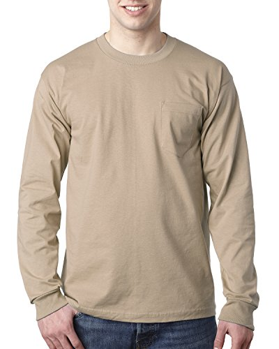 Bayside Adult Long-Sleeve Tee with Pocket XL Sand ()