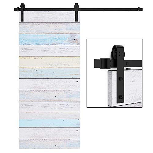 EaseLife 6.6 FT Heavy Duty Sliding Barn Door Hardware Track Kit-Ultra Hard Sturdy | Sliding Smooth Quiet | One Piece 6.6FT Track | Easy Install | Fit up to 40