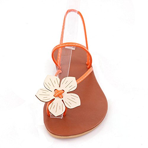 COOLCEPT Mujer Flor Sandalias Slingback Verano Planos Zapatos Orange