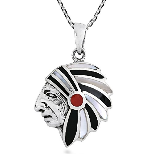 AeraVida Native American Style with Stone & Shell Inlays .925 Sterling Silver Pendant Necklace