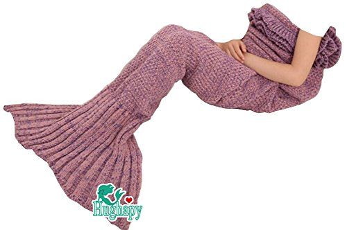 "UPC 712243459223, Hughapy Mermaid Blanket Kids Knitted Sleeping Bag Sofa Falbala Mermaid Tail Bed Throw Blanket in 4 colors,55""x28"",Pink"