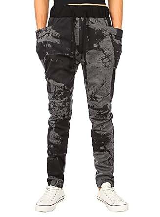 HEMOON Mens Jogging Pants Tracksuit Bottoms Training Running Trousers Grey Print XS
