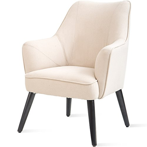 (Harper&Bright Designs Fabric Accent Chair Contemporary Style Arm Chair Metal Legs)