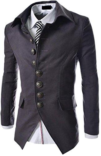 ARRIVE GUIDE Mens Vintage Flap Pocket Single Breasted Lapel Blazer Jacket Black Medium
