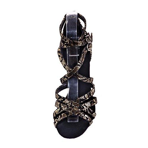 L@YC Weibliche Tanzschuhe Latin Kunstleder Schuhe High Heel 7,5 Cm Multi-Color / Large Yards Black