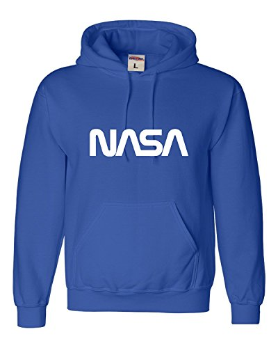 (Go All Out Large Royal Blue Adult NASA Worm Logo Sweatshirt Hoodie)