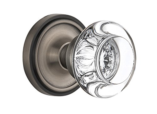 Nostalgic Warehouse Classic Rosette with Round Clear Crystal Glass Knob, Passage - 2.375