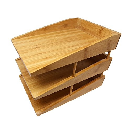 Kagura Bamboo Desk File Tray Office Organizer | Perfect for Sorting or Stacking Letter Documents, Folder or Paper Supplies | 100% Real-Bamboo Eco-Friendly by KAGURA BAMBOO (Image #2)
