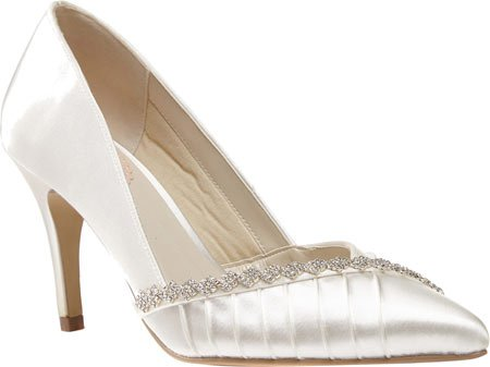 Pink Paradox London Women's Union Pointed Toe Pump,White Satin,US 10 M - 3