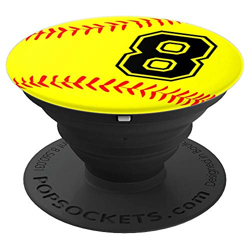 Softball Jersey Number #8 Eight No 8 Game Play Fun Uniform - PopSockets Grip and Stand for Phones and Tablets