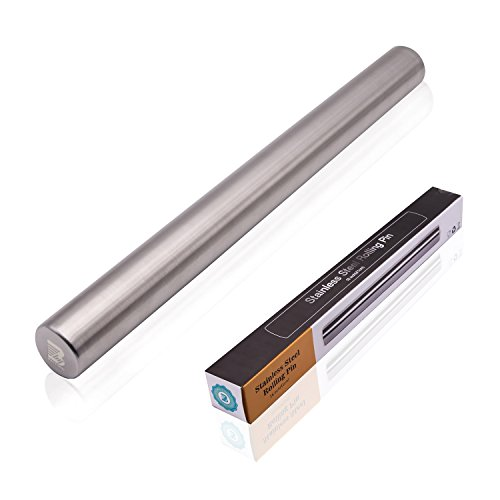 Baiyihui 16'' Rolling Pin, SUS304 (18/8) Stainless Steel Rolling Pin for Baking Dough/Pasta / Cookie/Fondant / Pizza, Non-stick, Dishwasher Safe, Rust Resistant by Baiyihui