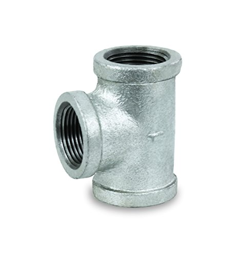 Everflow Supplies GMTE0100 High Pressure Galvanized Malleable Tee Fitting with Female Threaded Connections, 1