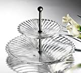 Etched Glass 2-Tier Serving Tray