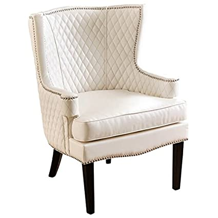 Amazon Com Pemberly Row Quilted Faux Leather Accent Chair In White