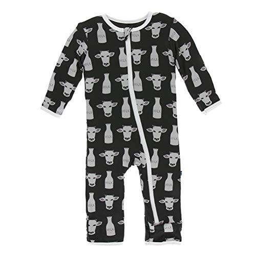 (Kickee Pants Little Boys Print Coverall with Zipper - Zebra Tuscan Cow, 9-12 Months)