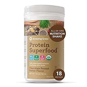 Amazing Grass Protein Superfood: Vegan Protein Powder, All-in-One Nutrition Shake, Chocolate Peanut Butter, 18 Servings