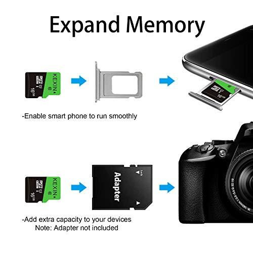 KEXIN Carte Micro SD 16Go de Haute Vitesse Jusqu\'à 80 Mo/s, Lot de 3 Cartes Mémoire MicroSDHC 16 Go UHS-I U1 C10, Carte TF pour Appareil Photo de Sport, Caméra, Smartphone, Drone, Tablette, Dash Cam