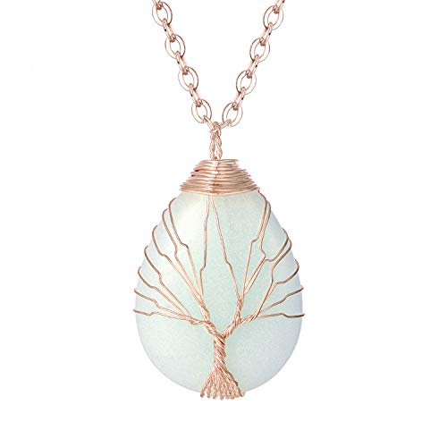 Water Drop Shape Luminous Necklace Glow in The Dark Pendent Handmade Rose Gold Plated Wire Wrapped Pendent Necklace Jewelry for Women Girls ()