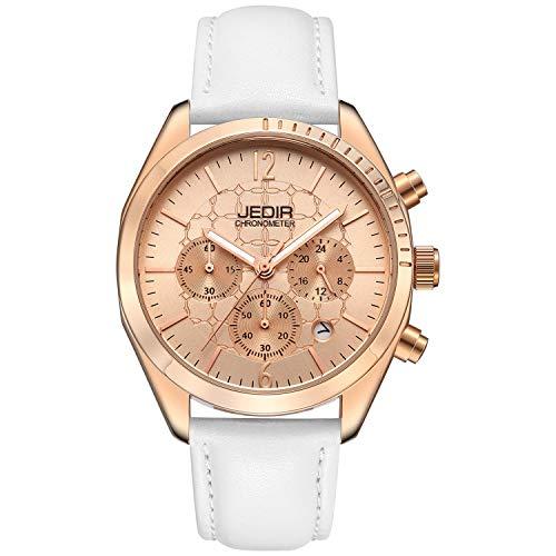 JEDIR Women Fashion Chronograph Quartz Watch Analog Unique Dial with Calendar Round Metal Case Leather Strap (Rose Gold)