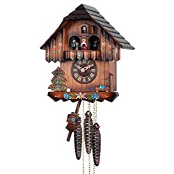 River City Clocks One Day Musical Cuckoo Clock with Hand Painted Flowers and Moving Dancers