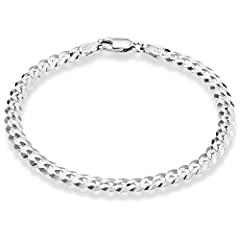 Miabella brings you the finest in modern and classic design. Make a cool statement with this solid and pure 925 sterling silver 5mm wide Cuban Curb bracelet. Like no other Curb chain in the market, our special diamond-cut offers a much more r...