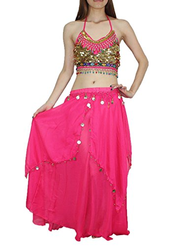 2 PCS SET: Womens Belly Dance Padded Wireless Cropped Top & Skirt Set 36A cup Pink (Sexy Belly Dance Costumes)