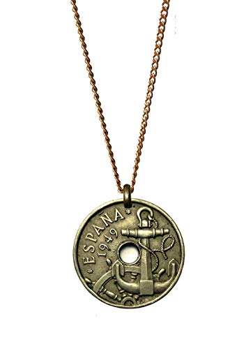Worn History Mens Authentic Antique Spanish Anchor Coin Necklace (1949-1963) (22 inches)