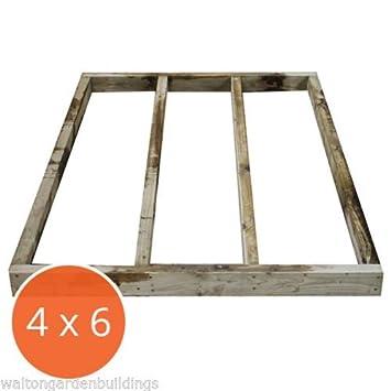 4 x 6 Portabase DIY Kit Base de caseta de madera tratada a presión y lugar de descanso por Walton: Amazon.es: Jardín