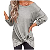 Women's Long Sleeve Tunic Blouse,Ladies Sexy Loose Casual Solid Fashion Twisted Tops T Shirt