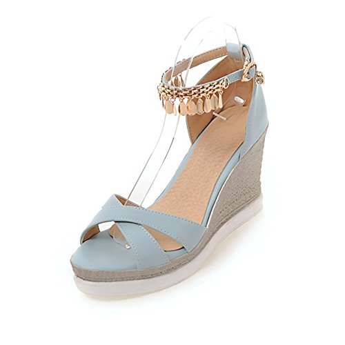 Easemax Femmes Mode Peep Toe Haute Talon Compensé Boucle Sangle Cheville Sandales Bleu