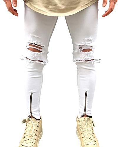 Suncaya Hombres Pantalones Ajustados Ripeado Motocicleta Denim Vintage Pantalones Hip Hop 1831