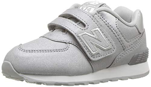 Cxi System - New Balance Girls' 574v1 Sneaker, Silver, 10 M US Toddler