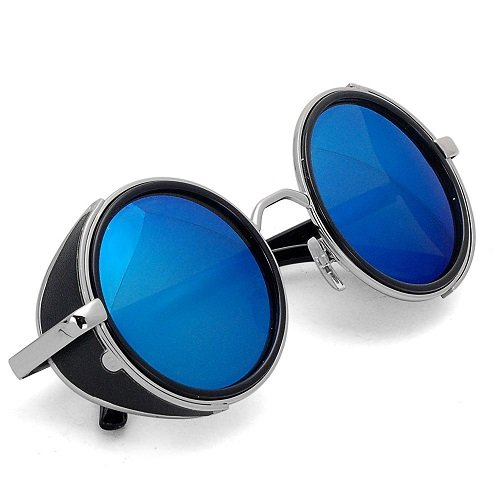 Vintage 50s Steampunk Hippie Cyber Sunglasses Retro Mirror lens Round Metal - Sunglasses Round Black Uk