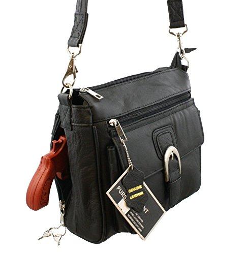 Black Right or Left Draw Crossbody / Shoulder Carry - Leather Locking Concealment Purse / Gun Bag - CCW Concealed Carry Pistol - Concealment Crossbody