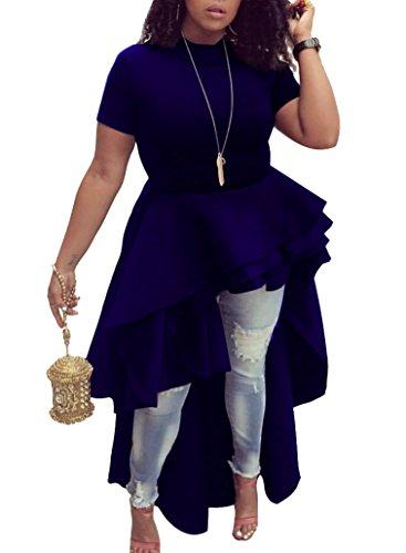 Black Ruffle Blouse (Irirgo Womens Ruffle High Low Asymmetrical Short Sleeve Bodycon Tops Blouse Shirt Dress Blue L)