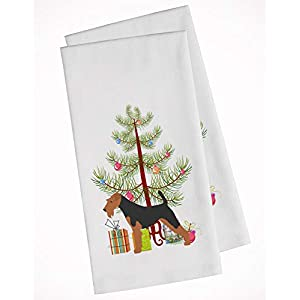 Caroline's Treasures BB2975WTKT Airedale Terrier Merry Christmas Tree White Kitchen Towel Set of 2, 19 X 25, Multicolor 30