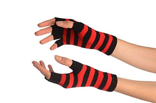 Red & Black Stripes Short Fingerless Gloves - Rouge Gants Taille Unique (16 cm)
