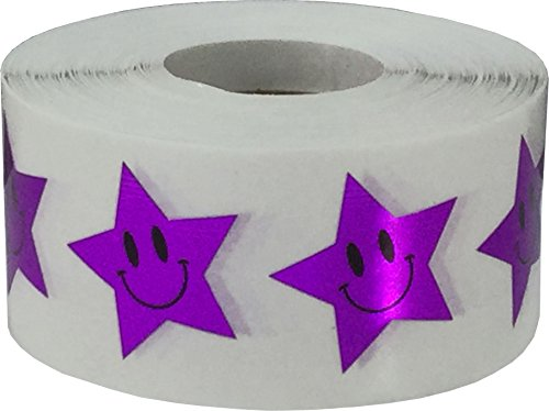 Metallic Purple Smiley Face Star Stickers, 1 Inch Wide, 500 Labels on a Roll (Smiley Face Purple)