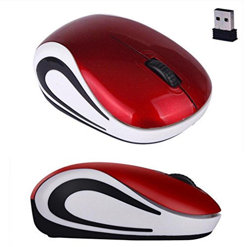 Compaq Scroll Mouse (Portable Perman Cute Mini 2.4GHz Wireless 3 Buttons Optical Mouse Mice with USB Receiver for Computer PC Laptop Notebook Red)