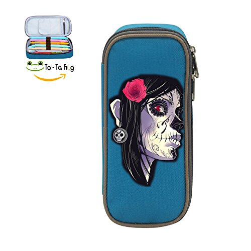 Fymanlu Beatuiful Skull Girl Big Capacity Pencil Case Bag Portable Stylish Nylon Pen - H7y