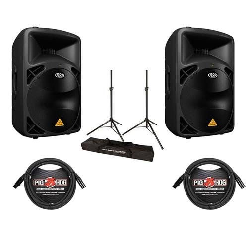 Behringer 2-Pack EUROLIVE B615D Active 1500 Watts 2-Way PA Speaker System with 15in Woofer - Bundle with 2 Pack 15
