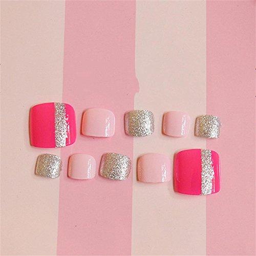 24pcs Short Square Fake Toe Nail Tips with Design Press on Toenails with Glue False Foot Nails