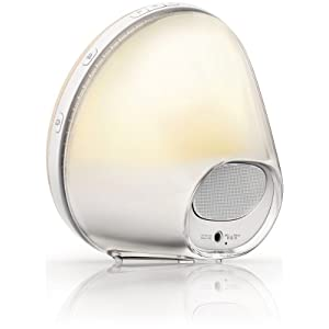 Philips Wake-Up Light with Colored Sunrise Simulation alarm clock & sunset fading night light, White HF3520