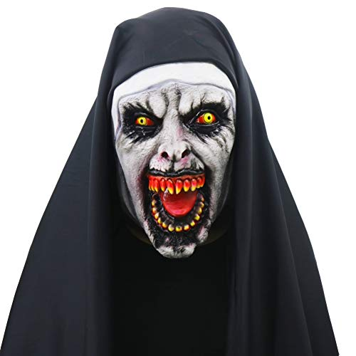 (Forart Nun Mask Halloween Mask Creepy Haunted House Prop Bloody Zombie Face Trick Halloween Cosplay)